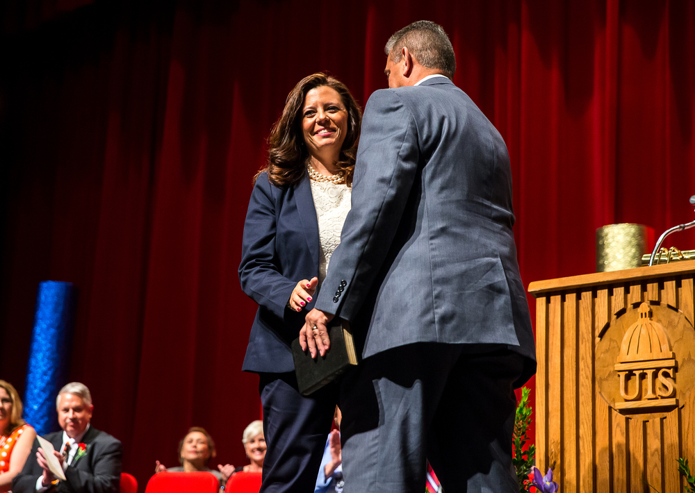 Treasurer Misty Buscher smiles after taking the Oath of Office during the City of Springfield 2015 Inaugural Ceremony at the Sangamon Auditorium, Thursday, May 7, 2015, in Springfield, Ill. Justin L. Fowler/The State Journal-Register