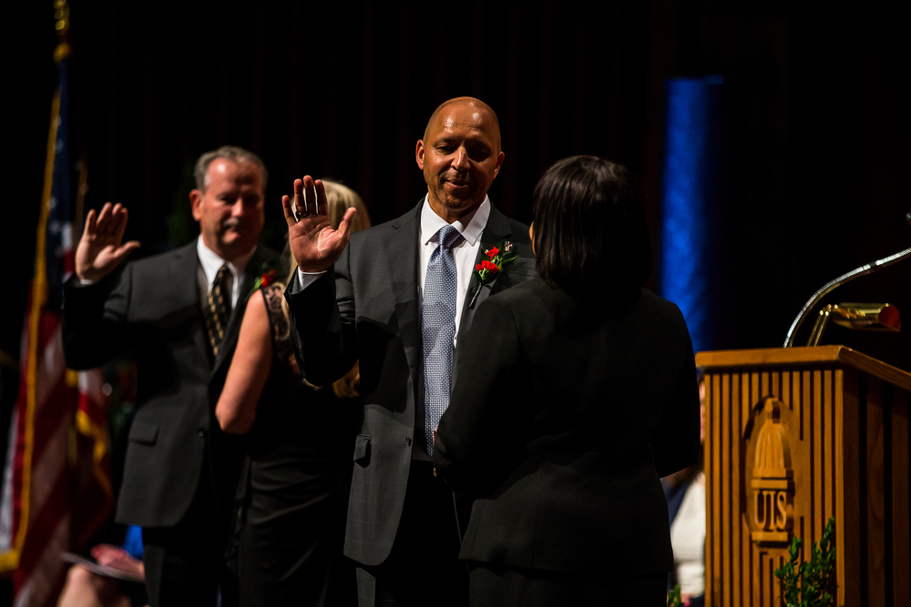 Ward 2 Ald. Herman Senor takes the Oath of Office during the City of Springfield 2015 Inaugural Ceremony at the Sangamon Auditorium, Thursday, May 7, 2015, in Springfield, Ill. Justin L. Fowler/The State Journal-Register