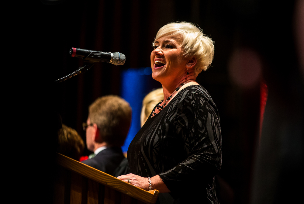 Melanie Dennison sings the Star-Spangled Banner during the City of Springfield 2015 Inaugural Ceremony at the Sangamon Auditorium, Thursday, May 7, 2015, in Springfield, Ill. Justin L. Fowler/The State Journal-Register