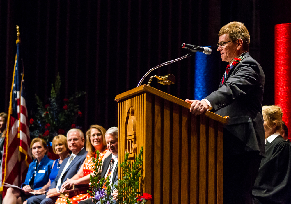 Mayor Jim Langfelder delivers his Inaugural Address during the City of Springfield 2015 Inaugural Ceremony at the Sangamon Auditorium, Thursday, May 7, 2015, in Springfield, Ill. Justin L. Fowler/The State Journal-Register