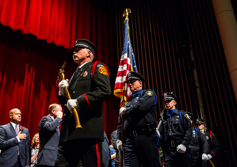 Springfield Firefighters Local 37 and the Springfield Police Department perform the Presentation of Colors during the City of Springfield 2015 Inaugural Ceremony at the Sangamon Auditorium, Thursday, May 7, 2015, in Springfield, Ill. Justin L. Fowler/The State Journal-Register