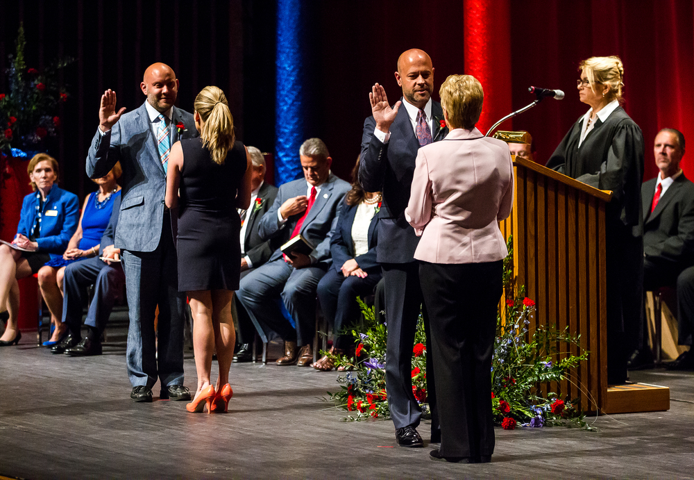 Ward 5 Ald. Andrew Proctor, left, and Ward 6 Ald. Cory Jobe take the Oath of Office during the City of Springfield 2015 Inaugural Ceremony at the Sangamon Auditorium, Thursday, May 7, 2015, in Springfield, Ill. Justin L. Fowler/The State Journal-Register
