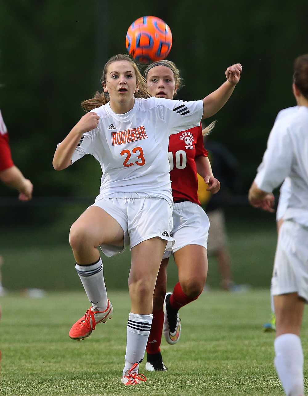 Rochester's Emma Hughes prepares to receive a pass. With neither team scoring, a weather delay with 8:45 remaining in the game forced the suspension of play between Rochester and Chatham Glenwood in girls high school soccer action at Rochester Elementary School on Thursday evening, May 7, 2015. David Spencer/The State Journal-Register