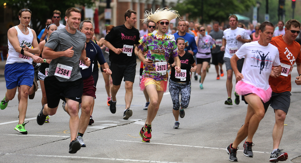 Participants at the front of the pack were actually seen running during the race. David Spencer/The State Journal-Register
