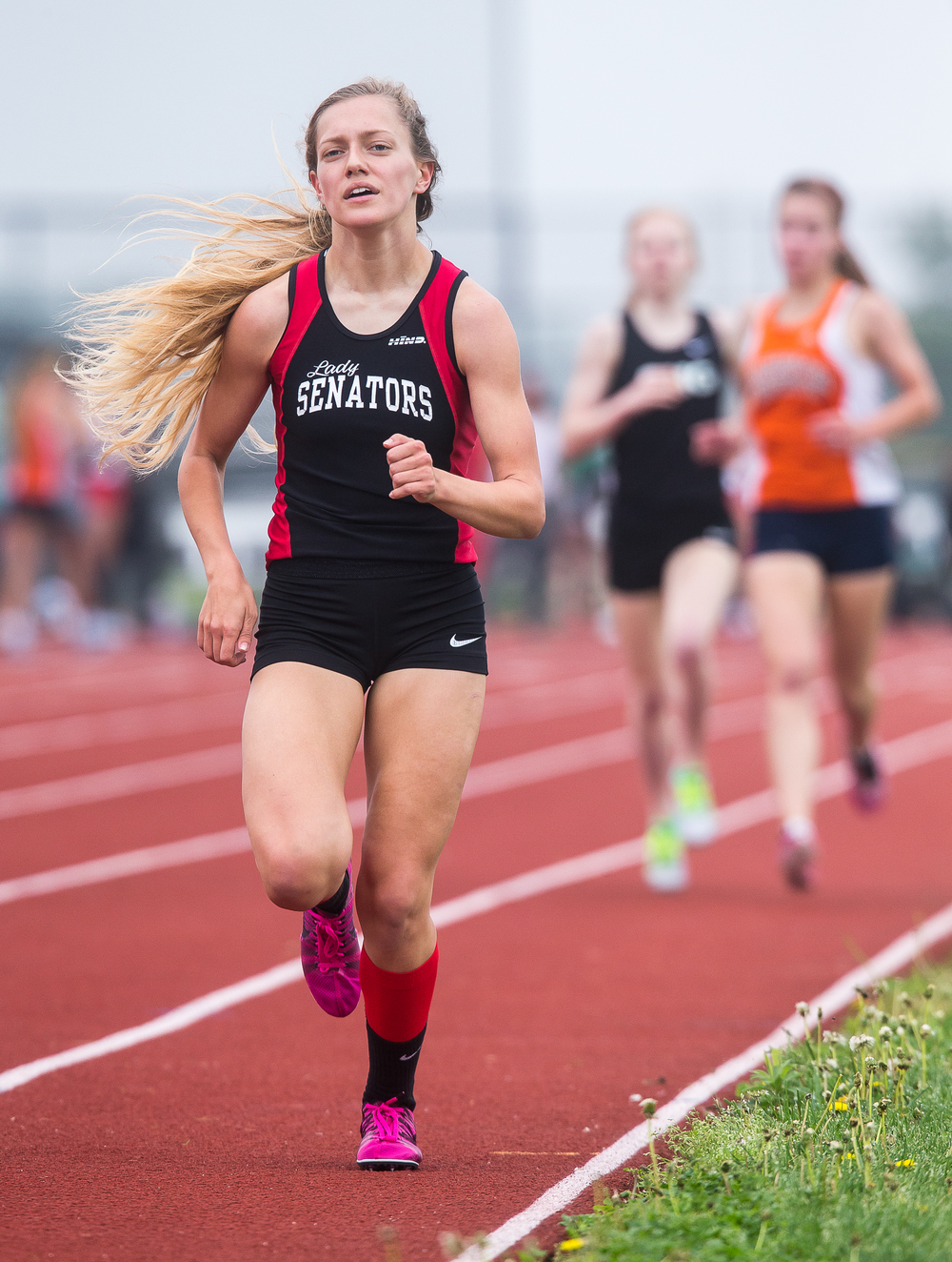 Springfield's Aly Goff heads to the finish line to win the 1600m Run with a time of 5:16.07 during the Girls Central State Eight Conference Track Meet at Glenwood High School, Saturday, May 9, 2015, in Chatham, Ill. Justin L. Fowler/The State Journal-Register