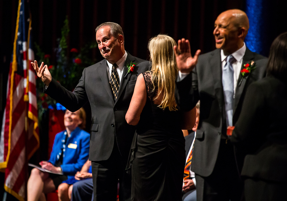 Ward 1 Ald. Chuck Redpath motions to the crowd after getting ahead of himself in the Oath of Office during the City of Springfield 2015 Inaugural Ceremony at the Sangamon Auditorium, Thursday, May 7, 2015, in Springfield, Ill. Justin L. Fowler/The State Journal-Register