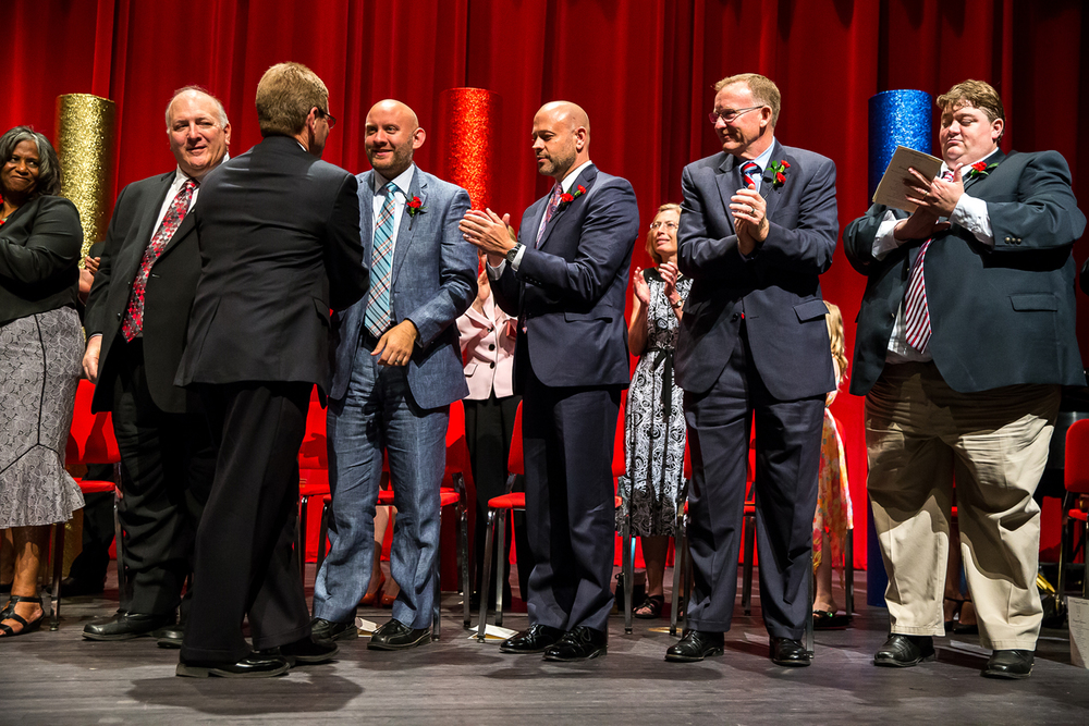 Mayor Jim Langfelder shakes the hands of the new aldermen before delivering his Inaugural Address during the City of Springfield 2015 Inaugural Ceremony at the Sangamon Auditorium, Thursday, May 7, 2015, in Springfield, Ill. Justin L. Fowler/The State Journal-Register