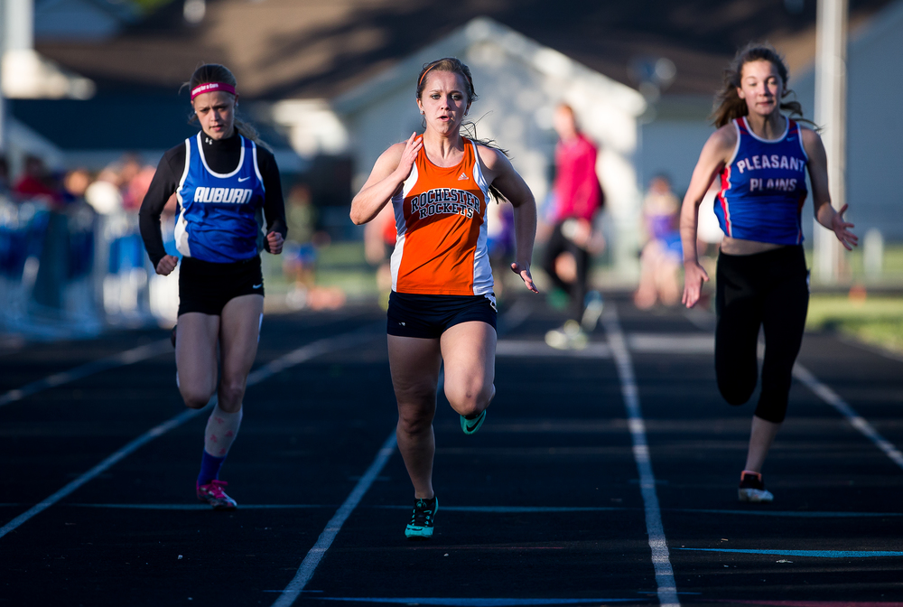 Rochester's Kara Burke takes home the victory in the Girls 100m Dash during the Sangamon County Track and Field Meet at Riverton Middle School, Monday, May 11, 2015, in Riverton, Ill. Justin L. Fowler/The State Journal-Register