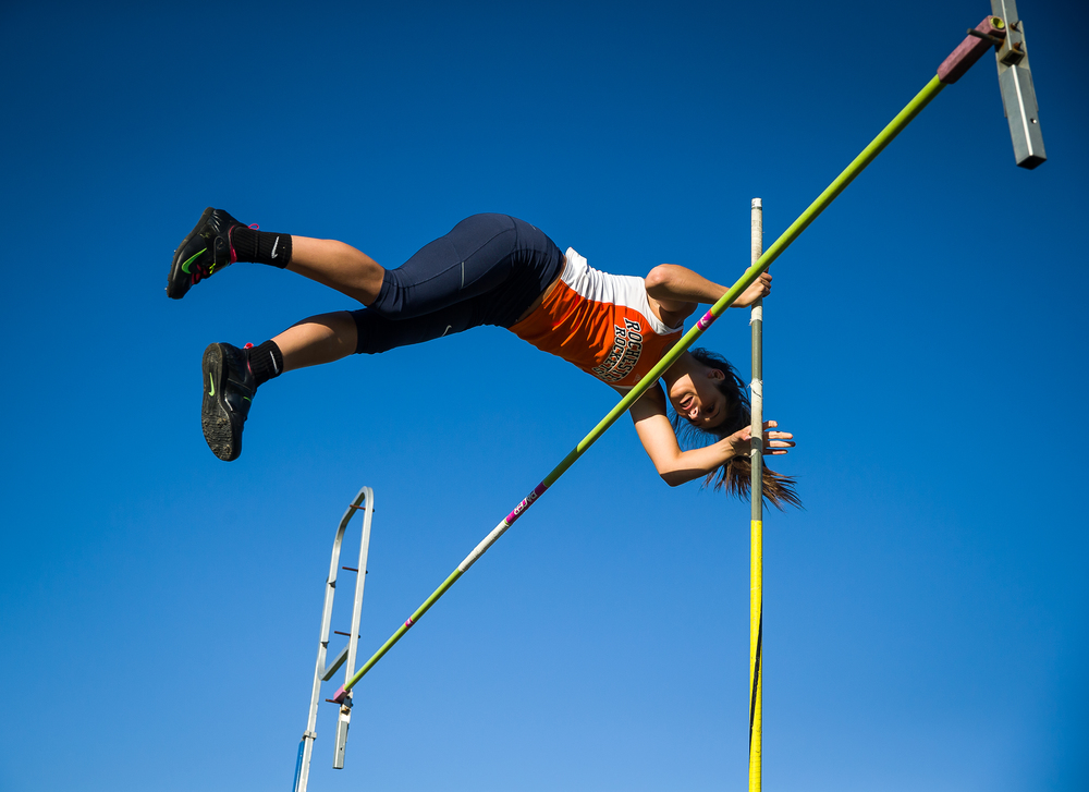 "Rochester's Laryn Sapetti clears 9' 6""  to win the Girls Pole Vault during the Sangamon County Track and Field Meet at Riverton Middle School, Monday, May 11, 2015, in Riverton, Ill. Justin L. Fowler/The State Journal-Register"