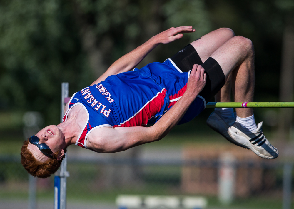 "Pleasant Plains' Jake Wayda clears 6' 2"" on his way to winning the Boys High Jump during the Sangamon County Track and Field Meet at Riverton Middle School, Monday, May 11, 2015, in Riverton, Ill. Justin L. Fowler/The State Journal-Register"