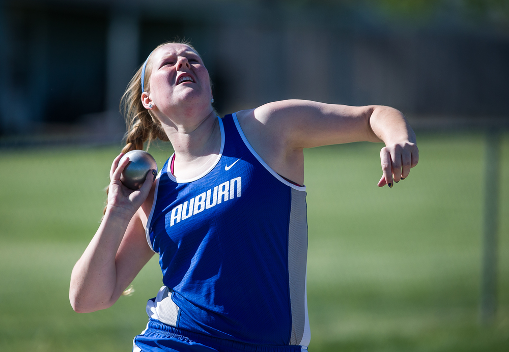 Auburn's Katie Gonterman sets a new record in the Shot Put with a throw of 40-2 1/4 during the Sangamon County Track and Field Meet at Riverton Middle School, Monday, May 11, 2015, in Riverton, Ill. Justin L. Fowler/The State Journal-Register