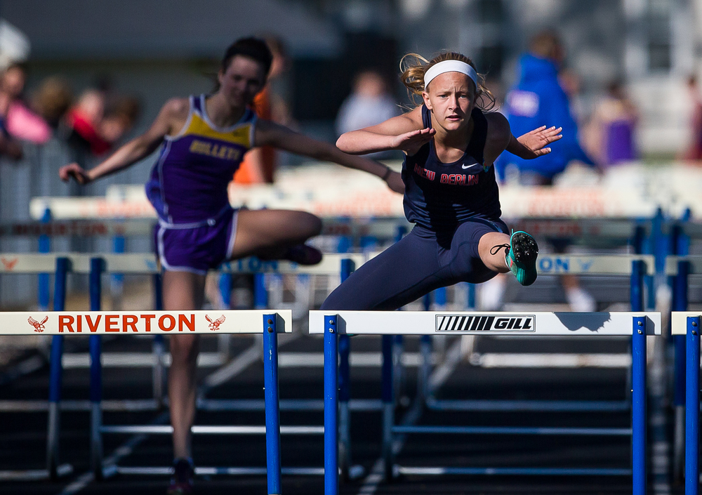 New Berlin's Alyssa Vignos wins the Girls 100m Hurdles during the Sangamon County Track and Field Meet at Riverton Middle School, Monday, May 11, 2015, in Riverton, Ill. Justin L. Fowler/The State Journal-Register