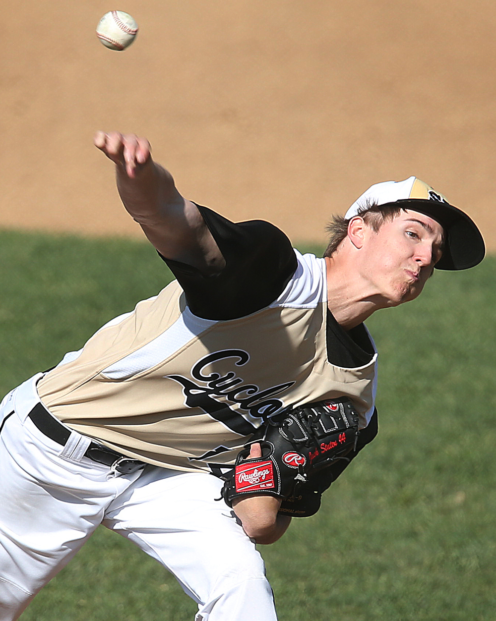 SHG pitcher Jack Staten was the winning pitcher. The Sacred Heart Griffin Cyclones defeated the Lanphier High School Lions 15-5 to win the championship of the City Series Baseball Tournament at Robin Roberts Stadium in Springfield on Tuesday, May 12, 2015. David Spencer/The State Journal-Register
