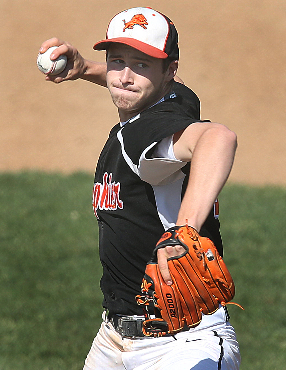 Lanphier's Kody Childers was the losing pitcher of the game. The Sacred Heart Griffin Cyclones defeated the Lanphier High School Lions 15-5 to win the championship of the City Series Baseball Tournament at Robin Roberts Stadium in Springfield on Tuesday, May 12, 2015. David Spencer/The State Journal-Register