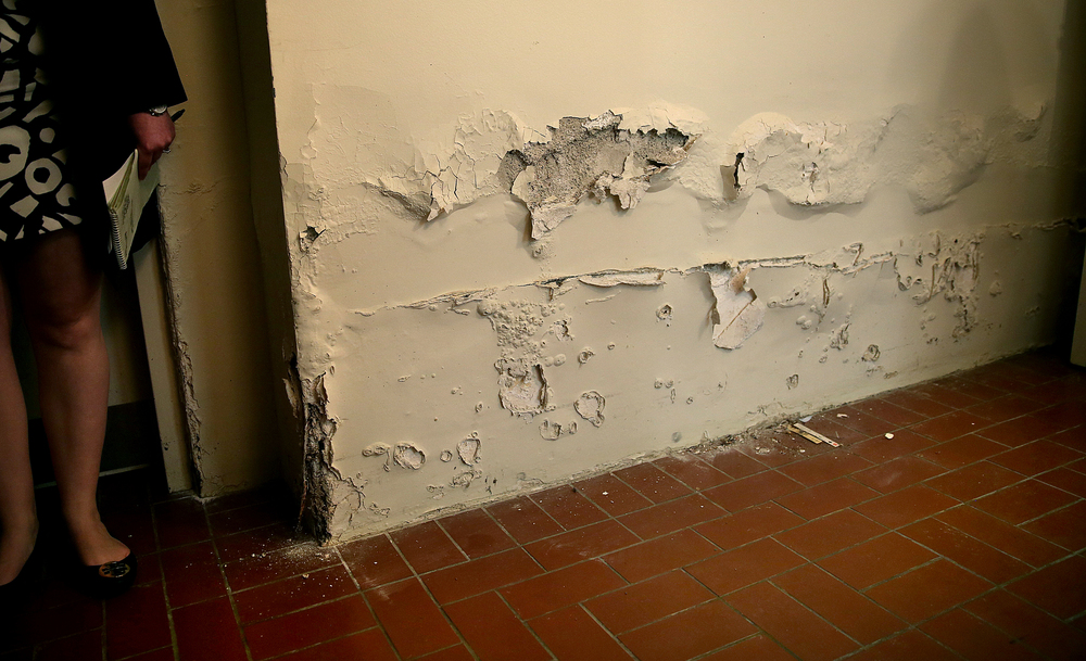 In the basement, standing water and a sewage backup caused by heavy rains in 2014 creeped up and compromised a large section of a wall opposite the entrance to the laundry room, as seen during a tour on Tuesday, May 12, 2015. David Spencer/The State Journal-Register