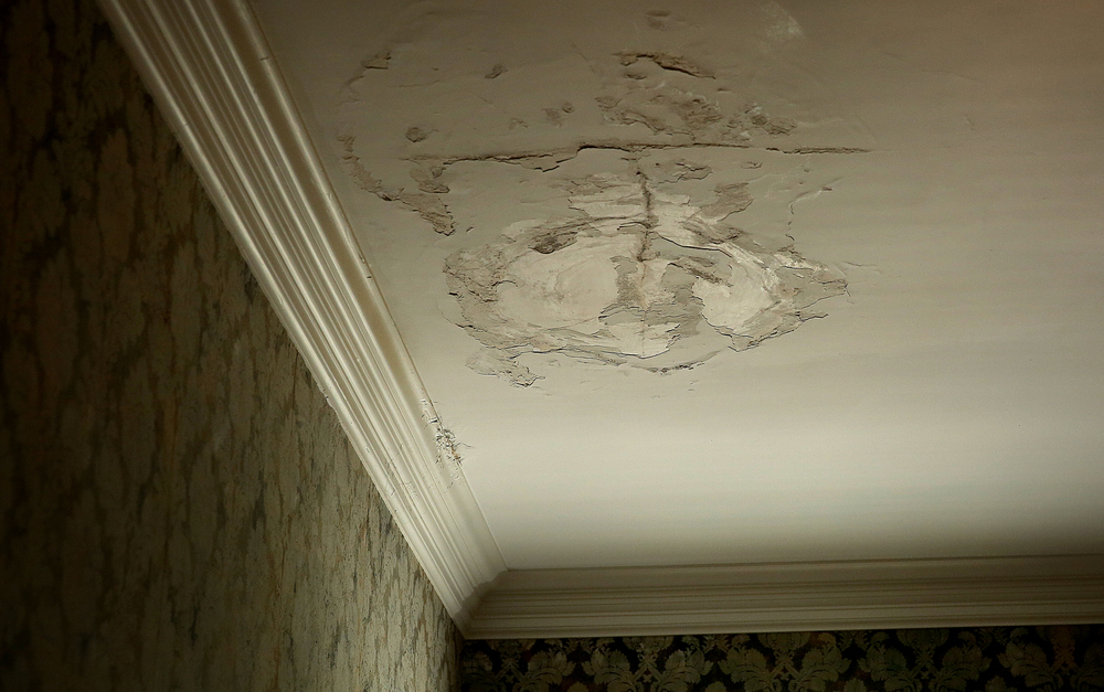 A close-up shows part of the plaster and paint on the ceiling of the Lincoln Bedroom in the mansion which has been compromised due to water intrusion from a leaky roof seen during a tour on Tuesday, May 12, 2015. David Spencer/The State Journal-Register
