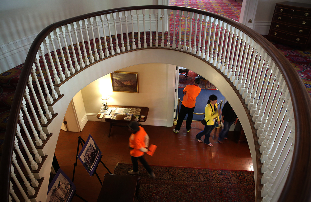 The mansion is still open to public tours on Tuesdays, Thursdays and Saturdays, with the large circular staircase getting an extra workout due to the fact there is no working elevator in the home after a flood shut it down permanently. Visitors to the home take a tour on Tuesday, May 12, 2015. David Spencer/The State Journal-Register