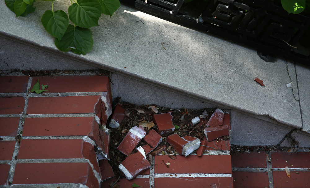 Extensive crumbling of brickwork, like that seen here on stairs leading up to the north porch, is seen during a tour of the mansion on Tuesday, May 12, 2015. David Spencer/The State Journal-Register