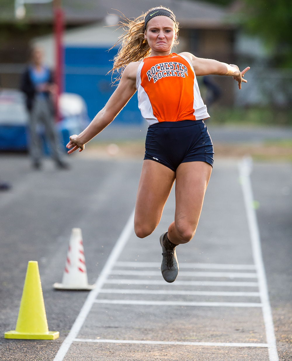 Rochester's Hailey Hollinshead competes in the Girls Triple Jump during the Girls Class 2A Sectional Track Meet at  Southeast High School, Thursday, May 14, 2015, in Springfield, Ill. Justin L. Fowler/The State Journal-Register