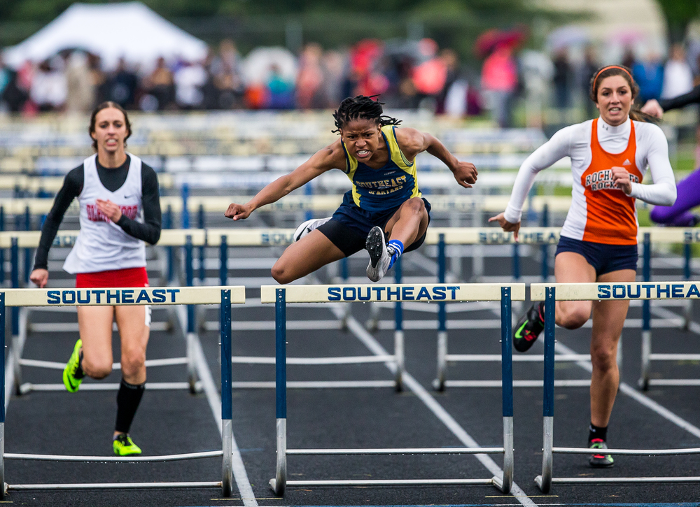 Southeast's Dontavia Howard takes home the win in the Girls 100m Hurdles  during the Girls Class 2A Sectional Track Meet at  Southeast High School, Thursday, May 14, 2015, in Springfield, Ill. Justin L. Fowler/The State Journal-Register