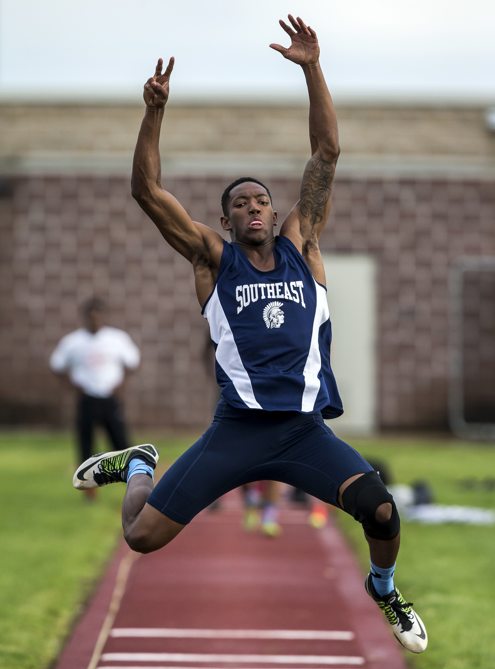Southeast's Sabree Bakari won the Boys Long Jump with a 21-03.50 during the Boys Central State Eight Track & Field Meet at Glenwood High School, Friday, May 15, 2015, in Chatham, Ill. Justin L. Fowler/The State Journal-Register