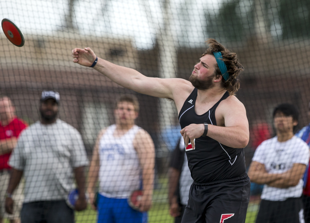 Jacksonville's Gabe Megginson won the Boys Discus with a throw of 151-01 during the Boys Central State Eight Track & Field Meet at Glenwood High School, Friday, May 15, 2015, in Chatham, Ill. Justin L. Fowler/The State Journal-Register