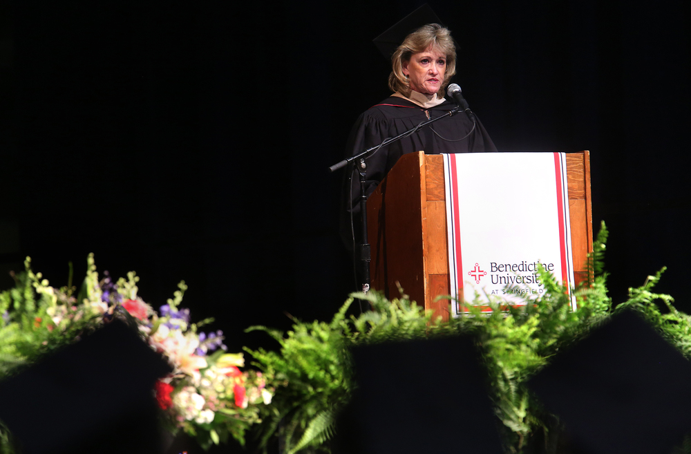Sharon Durbin, President and CEO of Land of Lincoln Goodwill Industries, delivers the commencement address Saturday morning.  David Spencer/The State Journal-Register