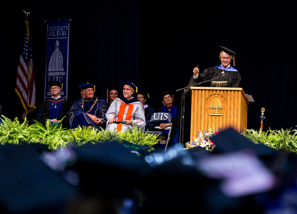 Thom M. Serafin, the founder and CEO of Serafin and Associates, Inc., delivers the commencement address during the University of Illinois Springfield's 44th Annual Commencement Ceremony at the Prairie Capital Convention Center, Saturday, May 16, 2015, in Springfield, Ill. Justin L. Fowler/The State Journal-Register