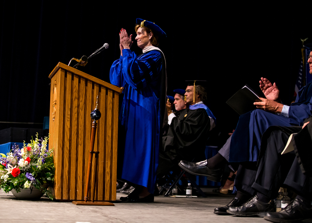 Susan J. Koch, the Chancellor of the University of Illinois Springfield, applauds those graduates that completed multiple degrees during the 44th Annual Commencement Ceremony at the Prairie Capital Convention Center, Saturday, May 16, 2015, in Springfield, Ill. Justin L. Fowler/The State Journal-Register