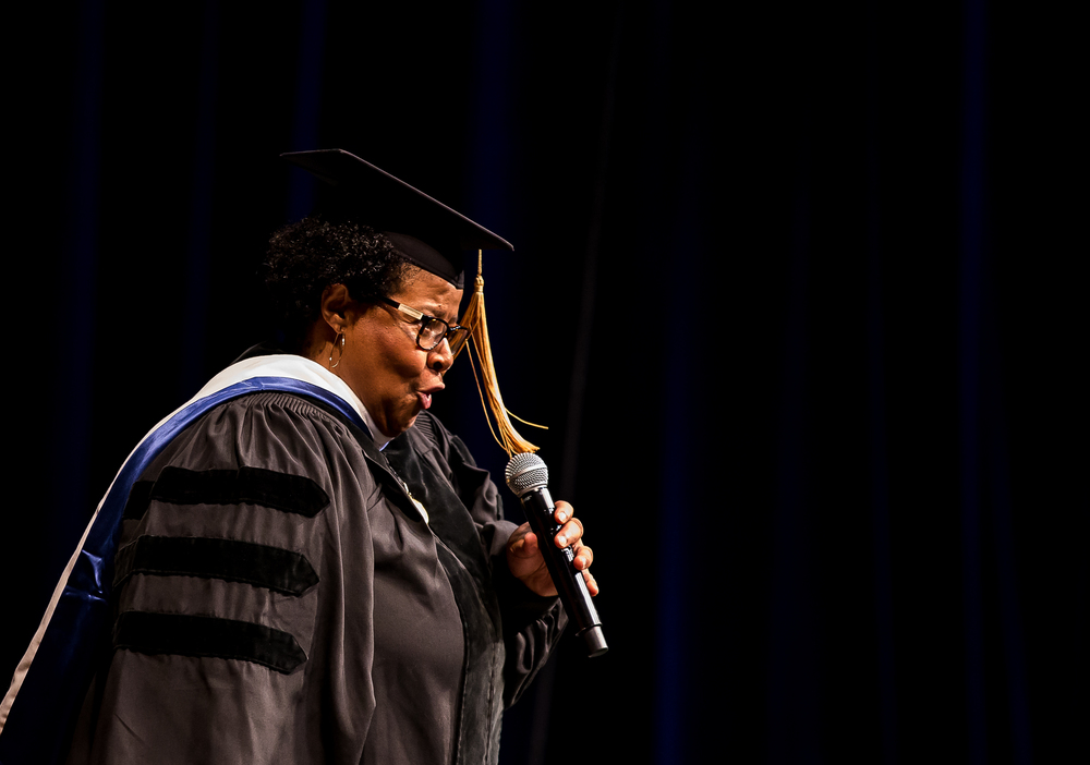 "Denise Yates, an alumna of UIS, performs ""Illinois, Illinois"" during the University of Illinois Springfield's 44th Annual Commencement Ceremony at the Prairie Capital Convention Center, Saturday, May 16, 2015, in Springfield, Ill. Justin L. Fowler/The State Journal-Register"