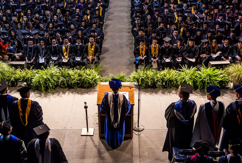Susan J. Koch, the Chancellor of  the University of Illinois Springfield, delivers her opening remarks during the 44th Annual Commencement Ceremony at the Prairie Capital Convention Center, Saturday, May 16, 2015, in Springfield, Ill. Justin L. Fowler/The State Journal-Register