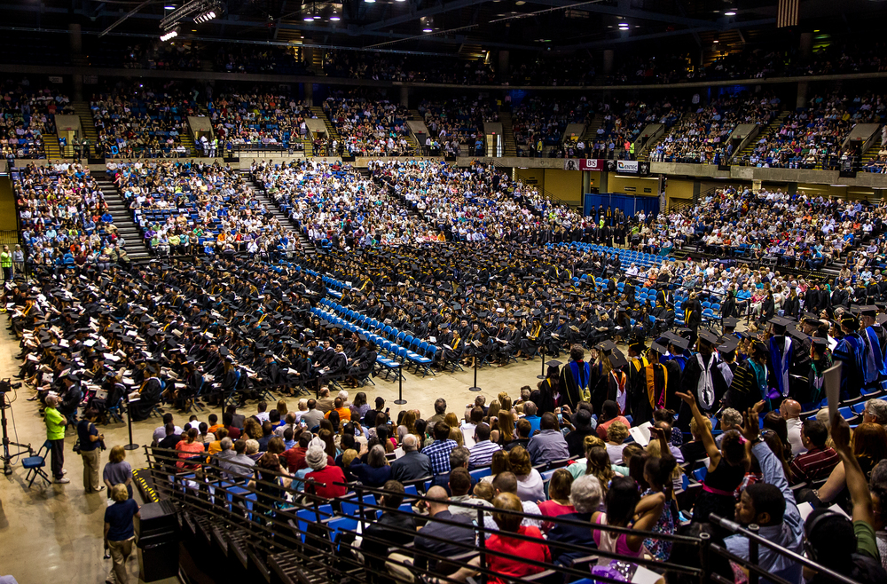 The largest graduating class in the history of the University of Illinois Springfield takes their seats for the 44th Annual Commencement Ceremony at the Prairie Capital Convention Center, Saturday, May 16, 2015, in Springfield, Ill. Justin L. Fowler/The State Journal-Register