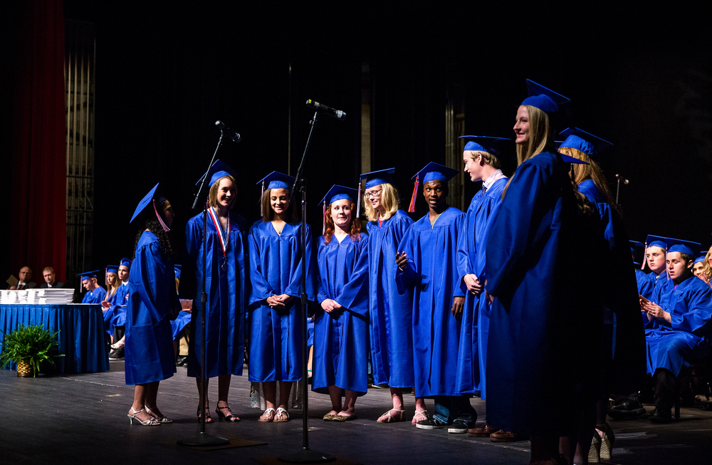 "The Pleasant Plains senior choir members perform ""Seasons of Love"" during the 99th Commencement for Pleasant Plains High School at Sangamon Auditorium, Sunday, May 17, 2015, in Springfield, Ill. Justin L. Fowler/The State Journal-Register"