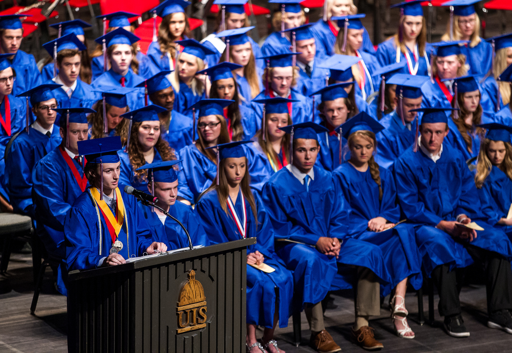 Pleasant Plains Salutatorian Zach Ross gives his speech during the 99th Commencement for Pleasant Plains High School at Sangamon Auditorium, Sunday, May 17, 2015, in Springfield, Ill. Justin L. Fowler/The State Journal-Register