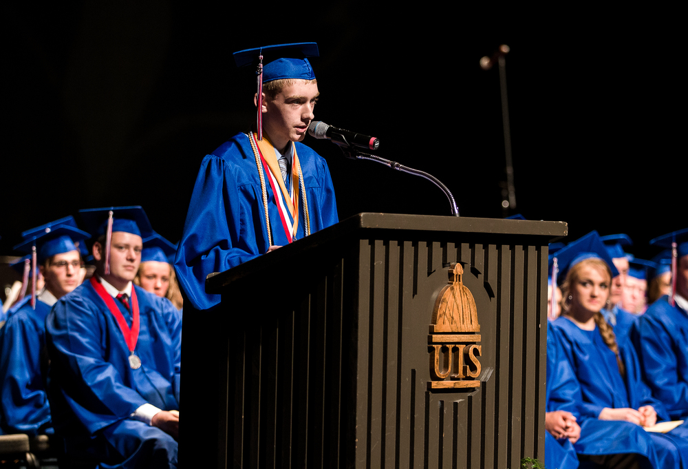 Valedictorian Ty Covey delivers his address during the 99th Commencement for Pleasant Plains High School at Sangamon Auditorium, Sunday, May 17, 2015, in Springfield, Ill. Justin L. Fowler/The State Journal-Register