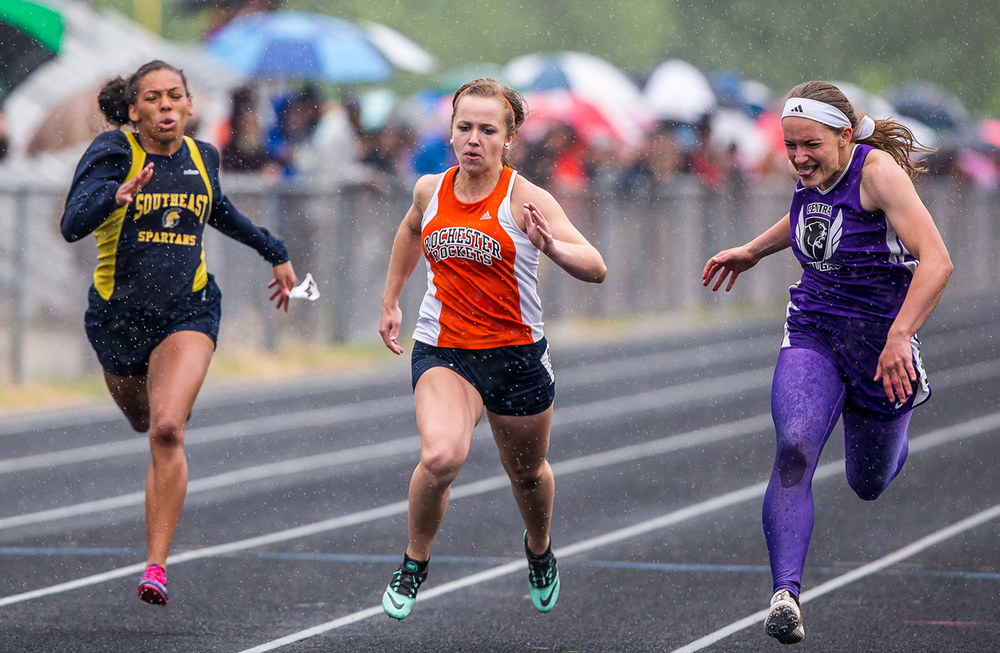Breese Central's Faye Meissner, right, edges out Rochester's Kara Burke to win the Girls 100m Dash during the Girls Class 2A Sectional Track Meet at  Southeast High School, Thursday, May 14, 2015, in Springfield, Ill. Justin L. Fowler/The State Journal-Register