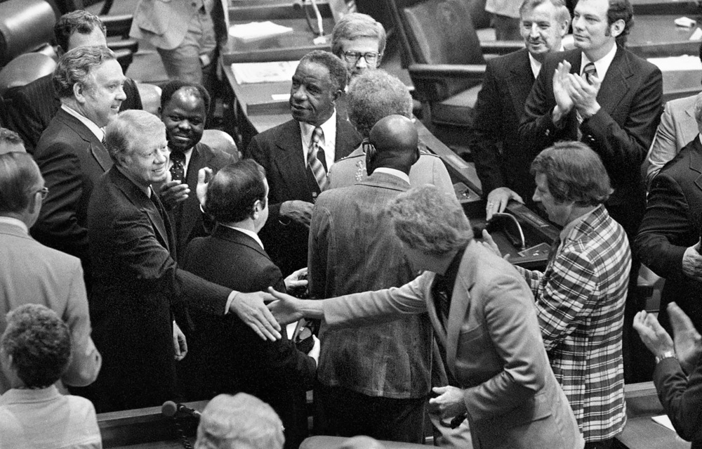 President Jimmy Carter is welcomed to the Illinois House chamber May 26, 1978 where he addressed a joint session of the General Assembly. File/The State Journal-Register