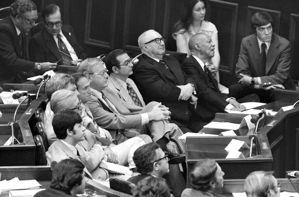 Lawmakers listen to President Jimmy Carter speak to a joint session of the Illinois General Assembly May 26, 1978. File/The State Journal-Register