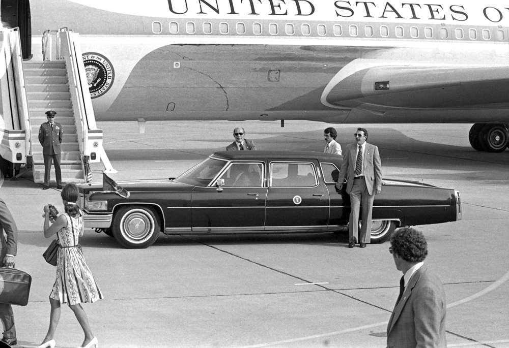 President Jimmy Carter leaves for the State Capitol in his limousine after arriving at Capital Airport on Air Force One May 26, 1978. File/The State Journal-Register