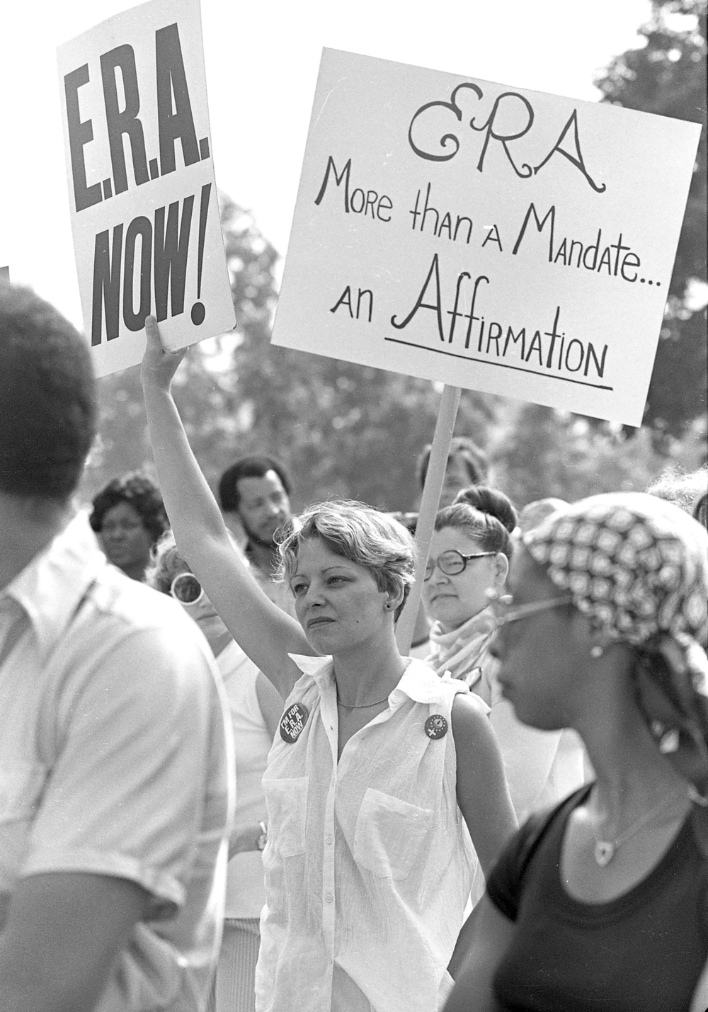 Supporters of the Equal Rights Amendment rally outside the Capitol while President Jimmy Carter addresses a joint session of the Illinois General Assembly May 26, 1978. File/The State Journal-Register