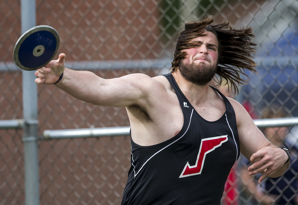 Jacksonville's Gabe Megginson throws a 154-0 while competing in the Boys Discus during the Class 2A Springfield Sectional Track and Field Meet at Memorial Stadium, Friday, May 22, 2015, in Springfield, Ill. Justin L. Fowler/The State Journal-Register