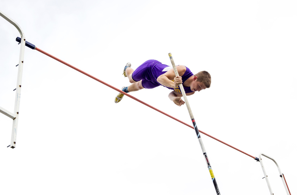 Taylorville's Michael Buckles finishes 2nd in the Boys Pole Vault with a 12-06.00 during the Class 2A Springfield Sectional Track and Field Meet at Memorial Stadium, Friday, May 22, 2015, in Springfield, Ill. Justin L. Fowler/The State Journal-Register