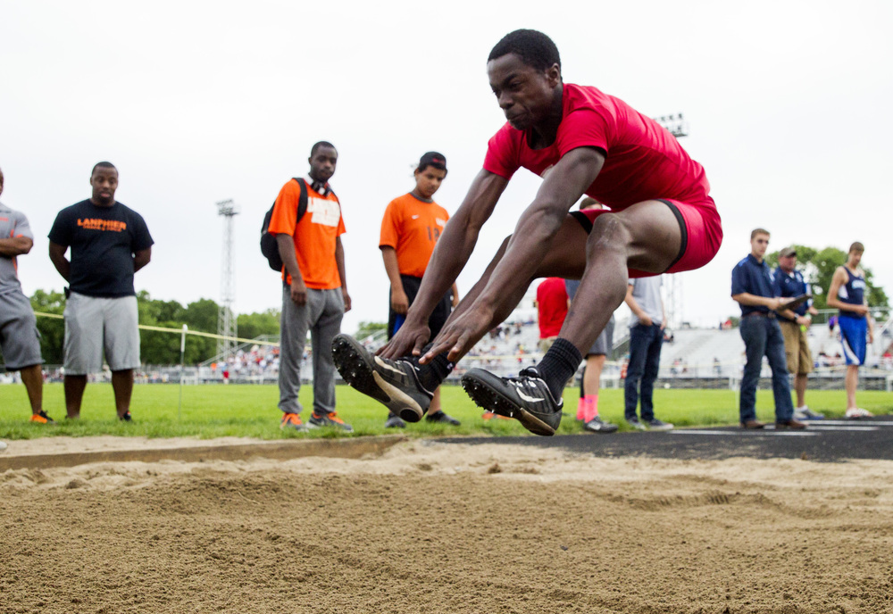 Glenwood's Tony Rolfe hits the sand with a jump of 21-09.50 to finish 2nd in the Boys Long Jump during the Class 2A Springfield Sectional Track and Field Meet at Memorial Stadium, Friday, May 22, 2015, in Springfield, Ill. Justin L. Fowler/The State Journal-Register