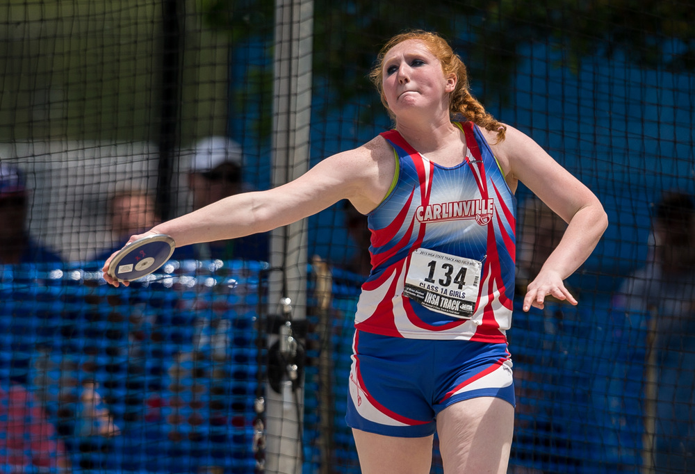 Carlinville's Megan Stayton finished 9th in the Class 1A Discus with a throw of 118-02 during the IHSA Girls Track and Field State Finals at O'Brien Stadium, Saturday, May 23, 2015, in Charleston, Ill. Justin L. Fowler/The State Journal-Register