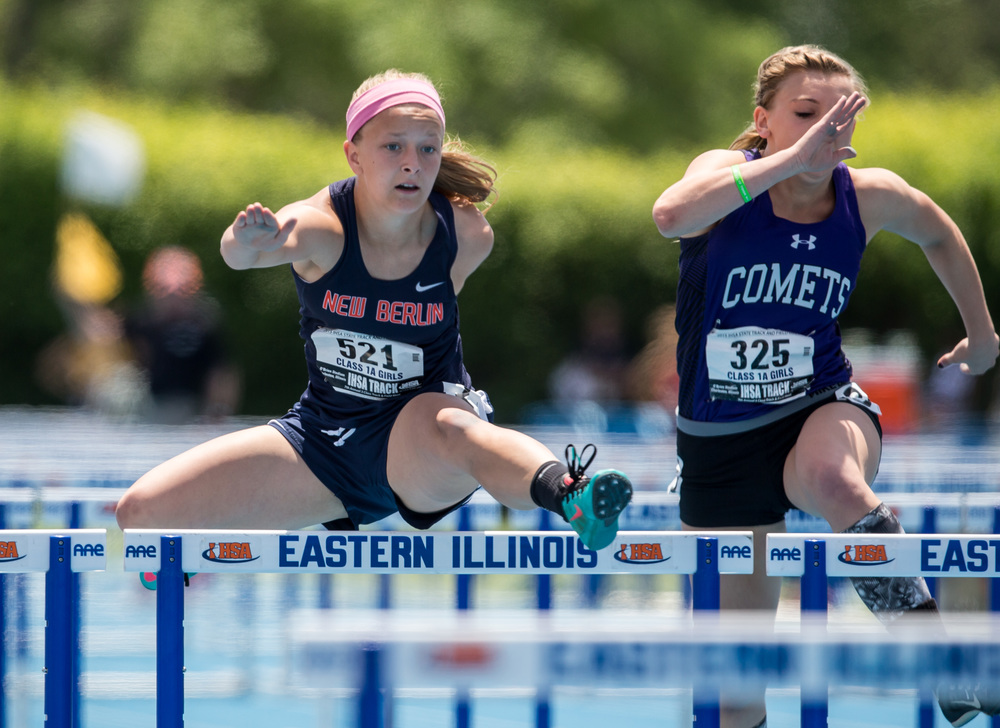 New Berlin's Alyssa Vignos finished 4th in the Class 1A 110m Hurdles with a time of 15.47 during the IHSA Girls Track and Field State Finals at O'Brien Stadium, Saturday, May 23, 2015, in Charleston, Ill. Justin L. Fowler/The State Journal-Register