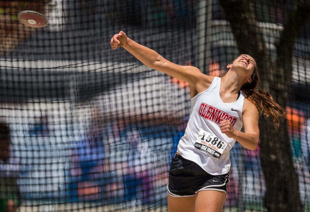 Glenwood's Elle Alexander wins the Class 2A Discus with a throw of 131-06 during the IHSA Girls Track and Field State Finals at O'Brien Stadium, Saturday, May 23, 2015, in Charleston, Ill. Justin L. Fowler/The State Journal-Register