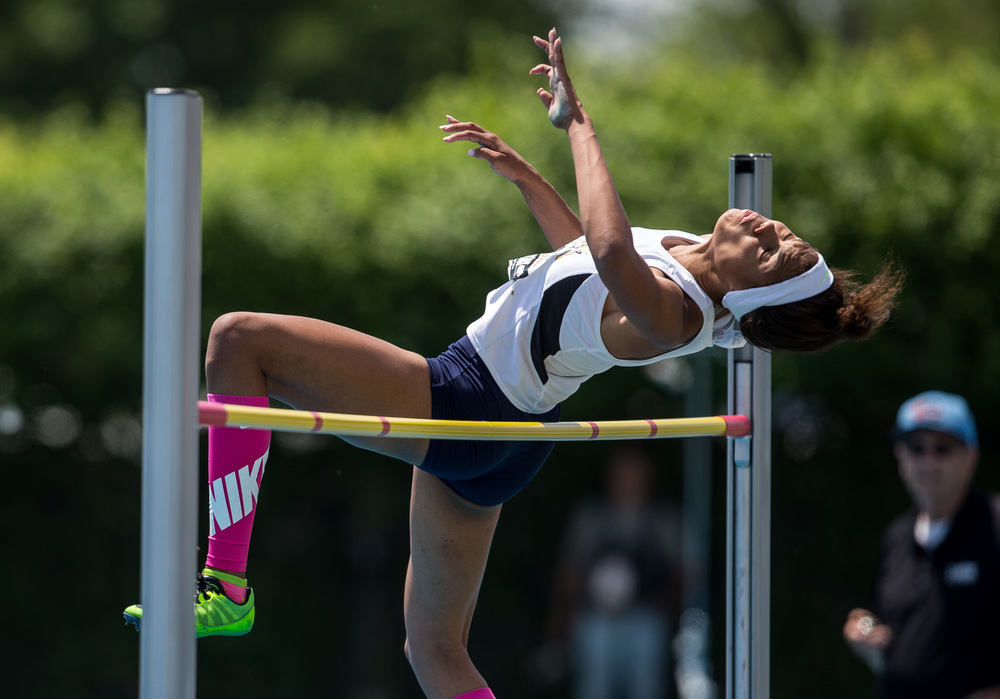Southeast's Jamari Drake clears 5-07.00 to win the Class 2A High Jump during the IHSA Girls Track and Field State Finals at O'Brien Stadium, Saturday, May 23, 2015, in Charleston, Ill. Justin L. Fowler/The State Journal-Register