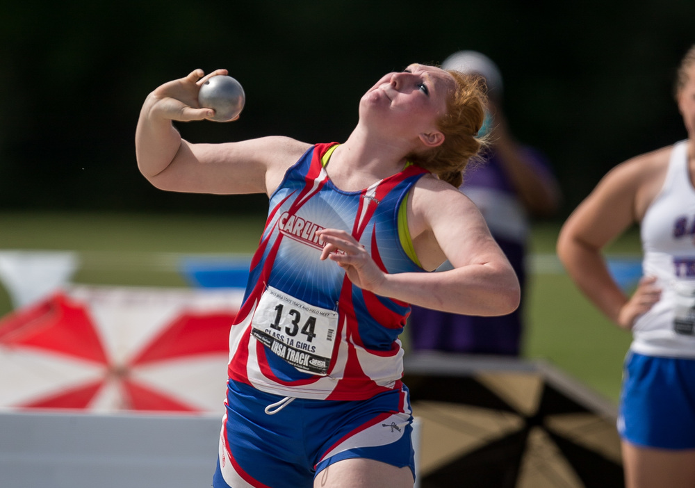Carlinville's Megan Stayton finished 12th in the Class 1A Shot Put with a put of 36-09.50 during the IHSA Girls Track and Field State Finals at O'Brien Stadium, Saturday, May 23, 2015, in Charleston, Ill. Justin L. Fowler/The State Journal-Register