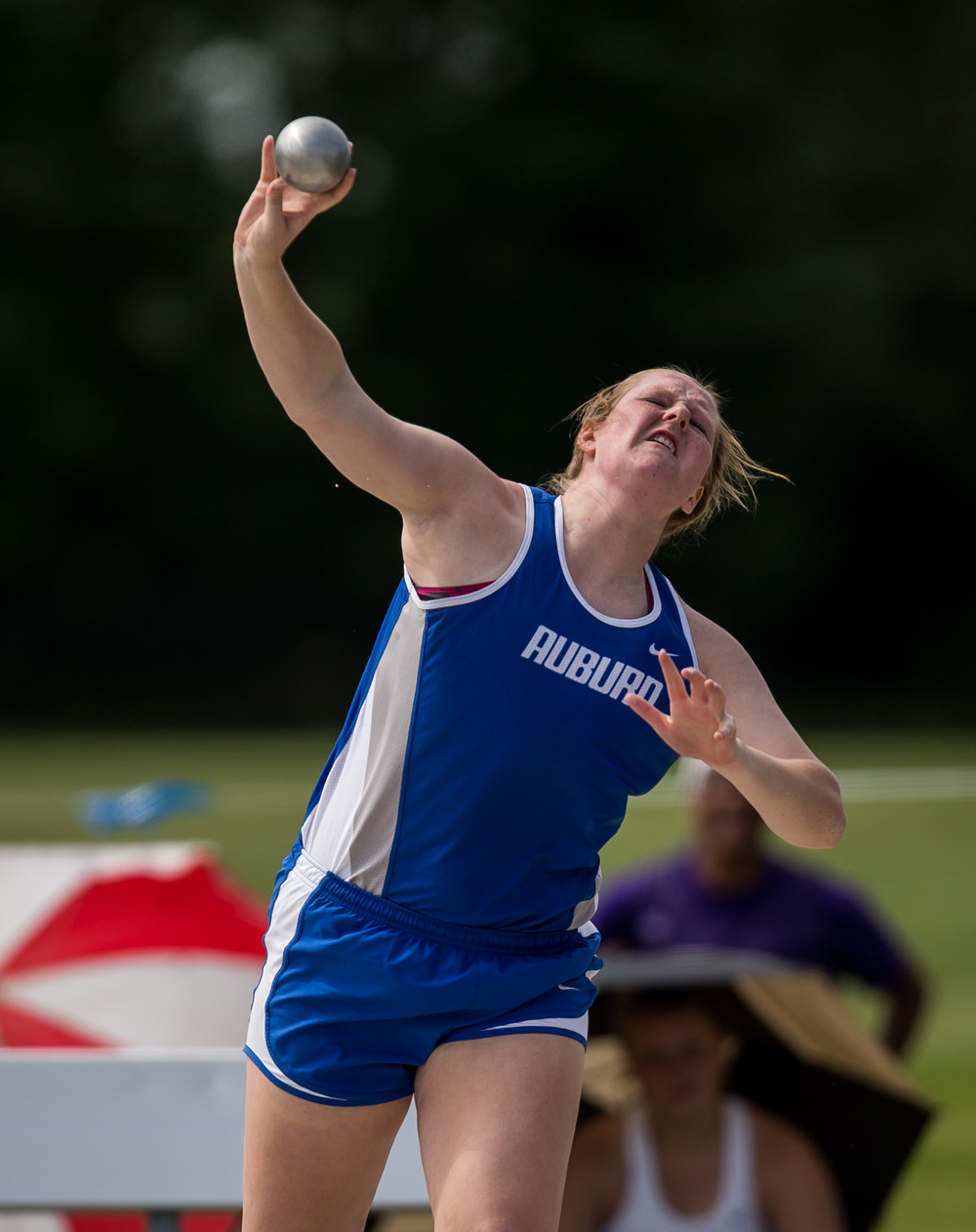 Auburn's Katie Gonterman finished 2nd in the Class 1A Shot Put with a put of 43-01.75 during the IHSA Track and Field State Finals at O'Brien Stadium, Saturday, May 23, 2015, in Charleston, Ill. Justin L. Fowler/The State Journal-Register