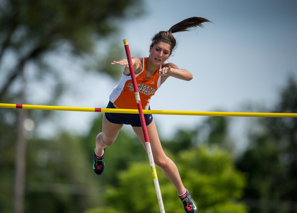Rochester's Laryn Sapetti clears 10-06.00 to finish 7th in the Class 2A Pole Vault during the IHSA Girls Track and Field State Finals at O'Brien Stadium, Saturday, May 23, 2015, in Charleston, Ill. Justin L. Fowler/The State Journal-Register